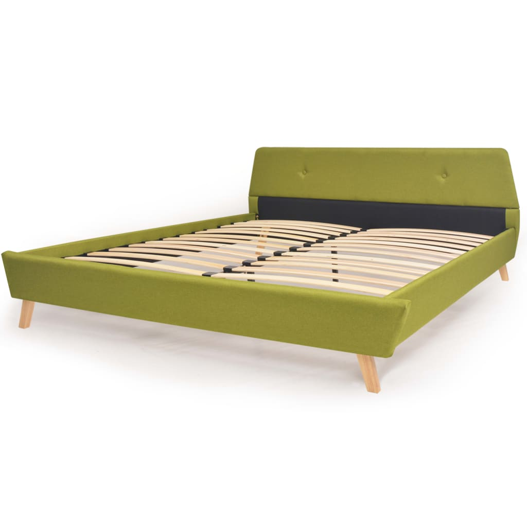 vidaXL Πλαίσιο Κρεβατιού με Σανίδες Πράσινο 160 x 200 εκ. Υφασμάτινο