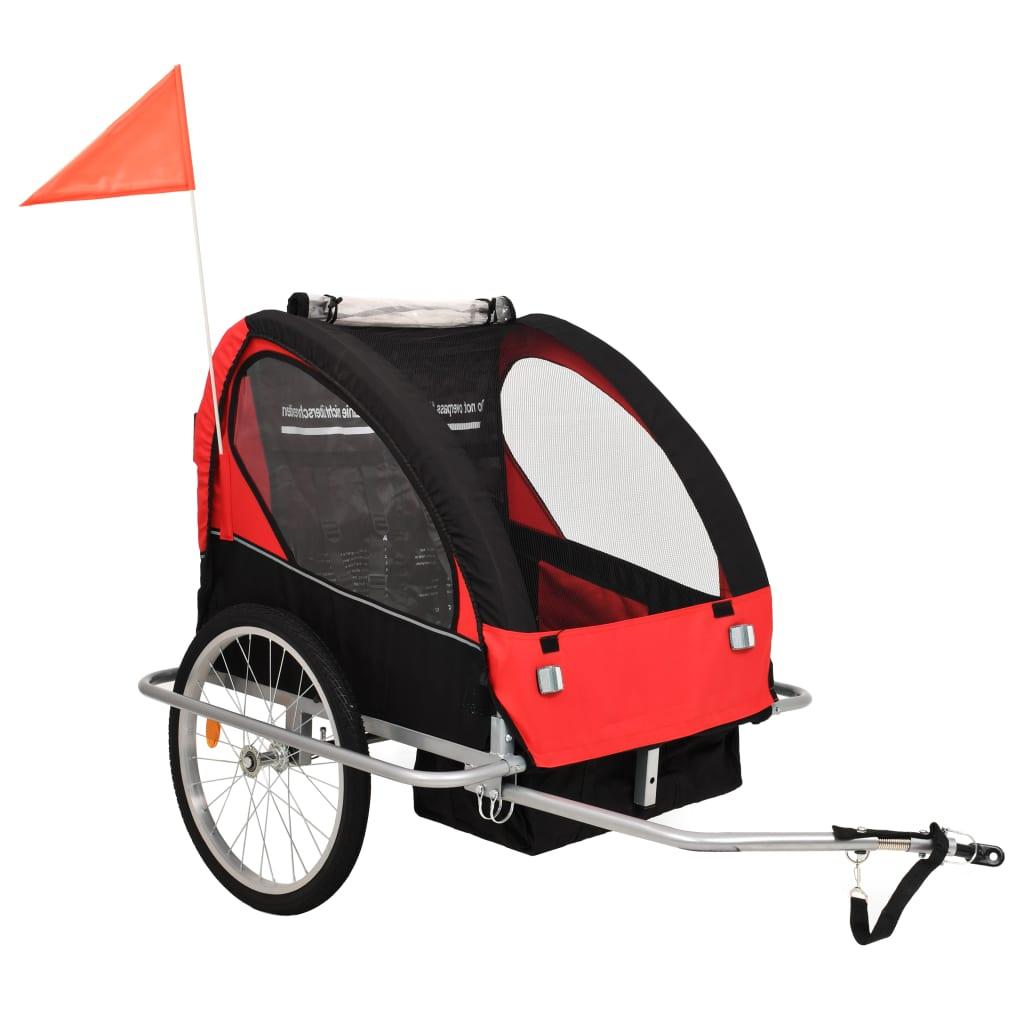 vidaXL Dětský vozík za kolo a kočárek pro běžce 2v1, červeno-černý