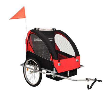vidaXL 2-in-1 Kids' Bicycle Trailer & Stroller Black and Red
