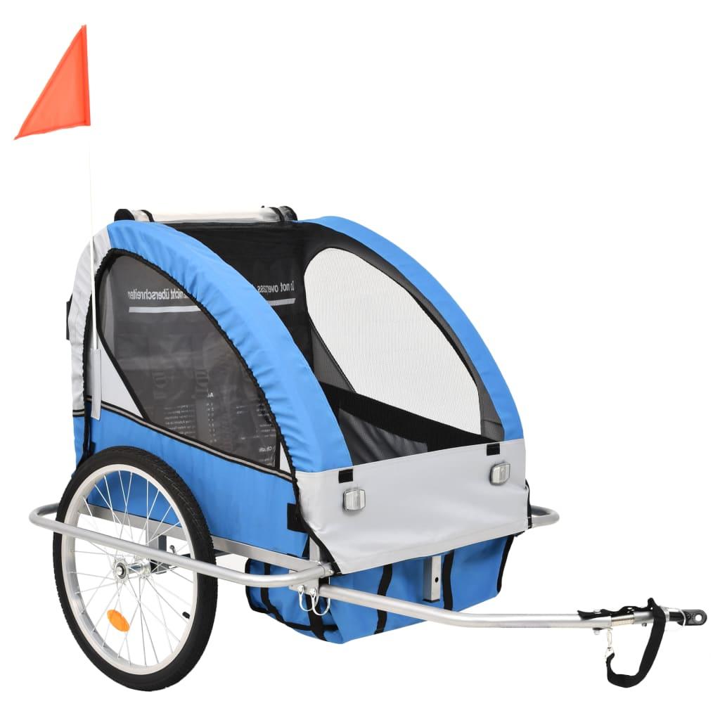 vidaXL Dětský vozík za kolo a kočárek pro běžce 2v1 modro-šedý