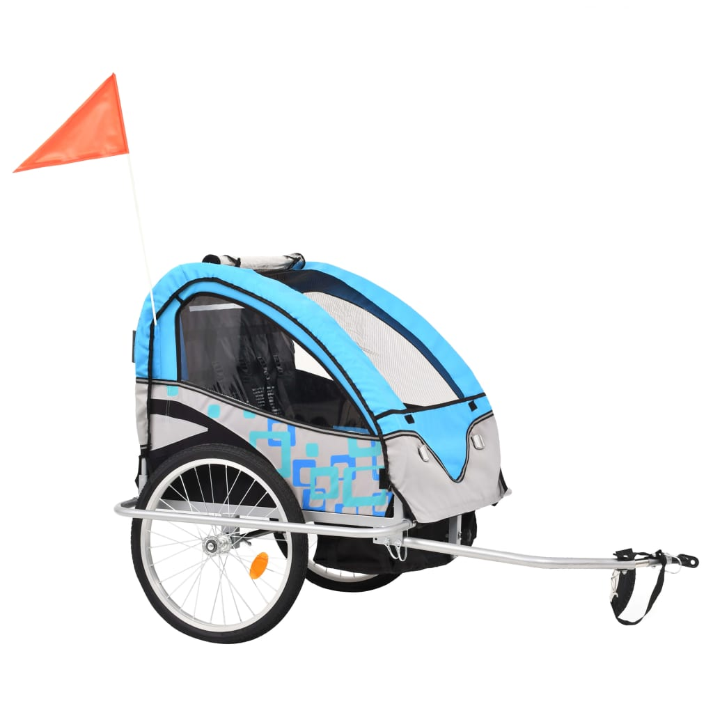 9991377 2-in-1 Kinder Fahrradanhänger & Kinderwagen Blau und Grau