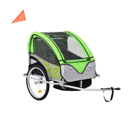 vidaXL 2-in-1 Kids' Bicycle Trailer & Stroller Green and Grey