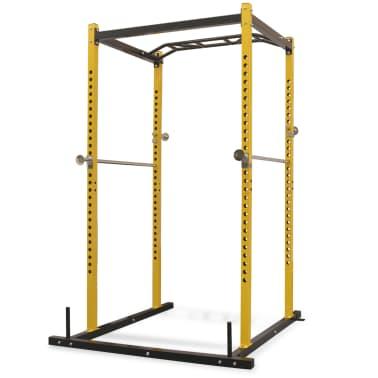 vidaXL Rack de musculation fitness 140 x 145 x 214 cm jaune et noir[1/7]