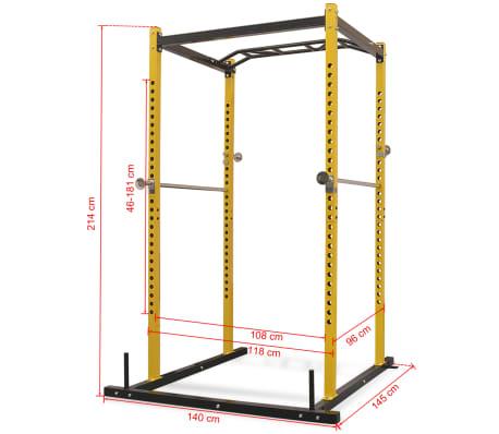 vidaXL Rack de musculation fitness 140 x 145 x 214 cm jaune et noir[7/7]