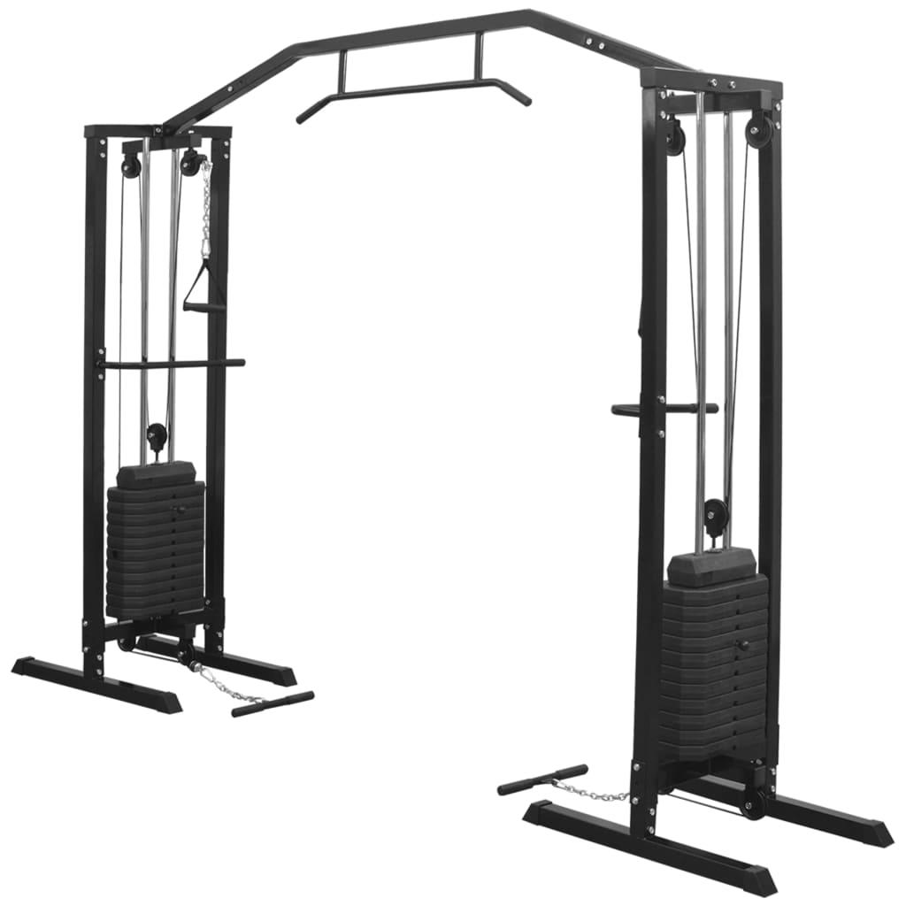 vidaXL Aparat Fitness Crossover cu cablu, 315 cm, negru imagine vidaxl.ro