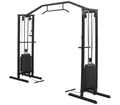vidaXL Aparat Fitness Crossover cu cablu, 315 cm, negru