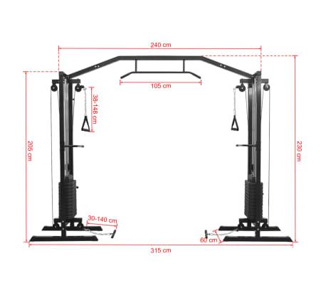 vidaXL Centre d'entraînement à câbles 315 cm Noir[10/10]