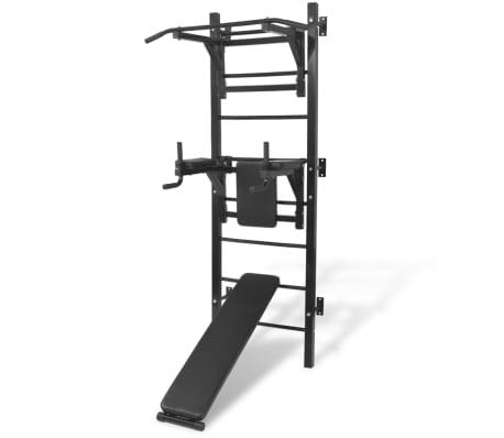 vidaXL Máquina de musculación multiusos para la pared negra