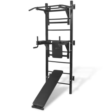 vidaXL Turn Fitness multifuncțional de perete, negru[1/8]