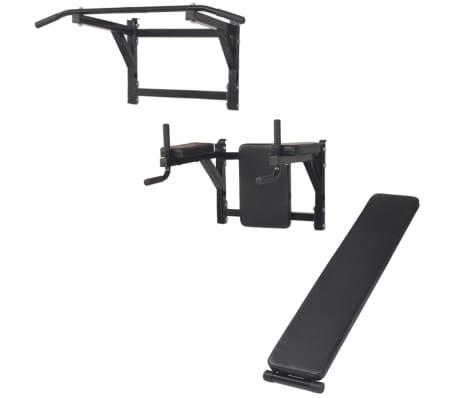 vidaXL Turn Fitness multifuncțional de perete, negru[3/8]
