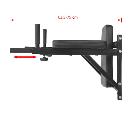 vidaXL Fitness-Dipstation zur Wandmontage Schwarz[7/7]