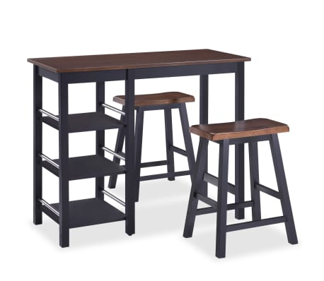 vidaXL Bar Set 3 Pieces MDF Black