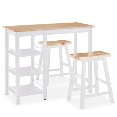 vidaXL Baro baldų rinkinys, 3 dalių, medienos plokštė (MDF), baltas[2/9]