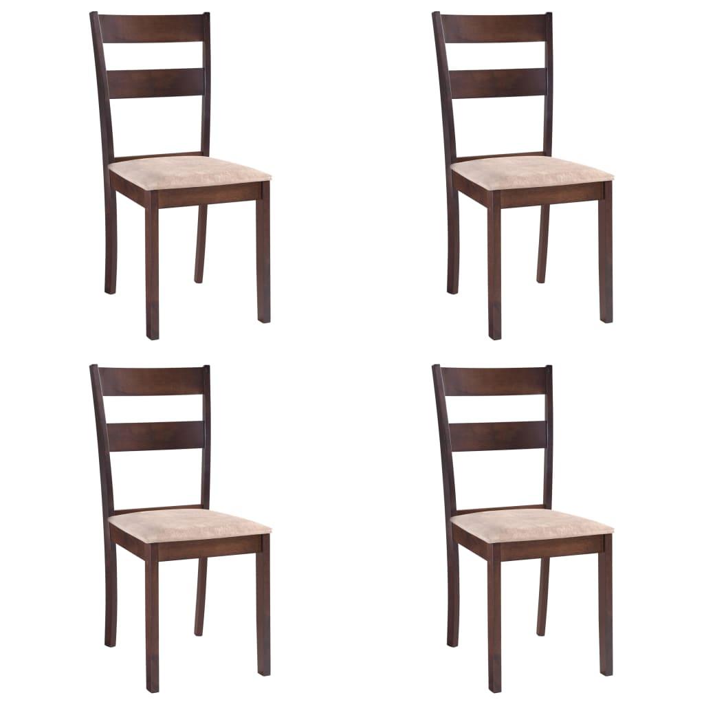 vidaXL Καρέκλες Τραπεζαρίας 4 τεμ. Καφέ από Ξύλο Καουτσουκόδεντρου