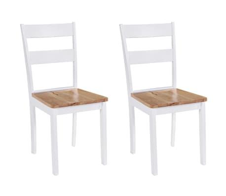 vidaXL Трапезни столове, 2 бр, бели, каучуково дърво масив