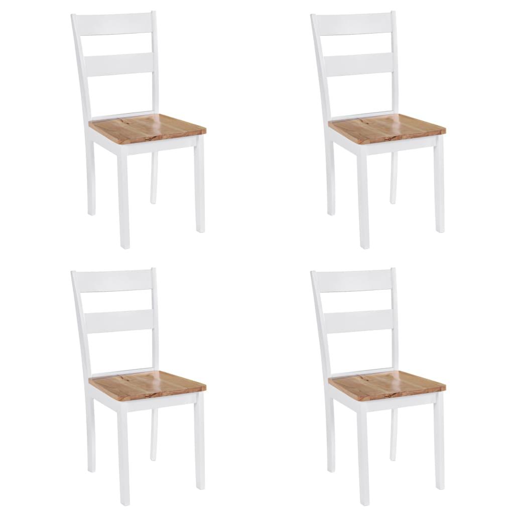 vidaXL Καρέκλες Τραπεζαρίας 4 τεμ. Λευκές Μασίφ Ξύλο Καουτσουκόδεντρου
