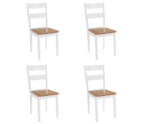 vidaXL Трапезни столове, 4 бр, бели, каучуково дърво масив