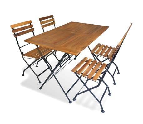 vidaXL Comedor de jardín plegable 5 piezas de madera maciza de acacia