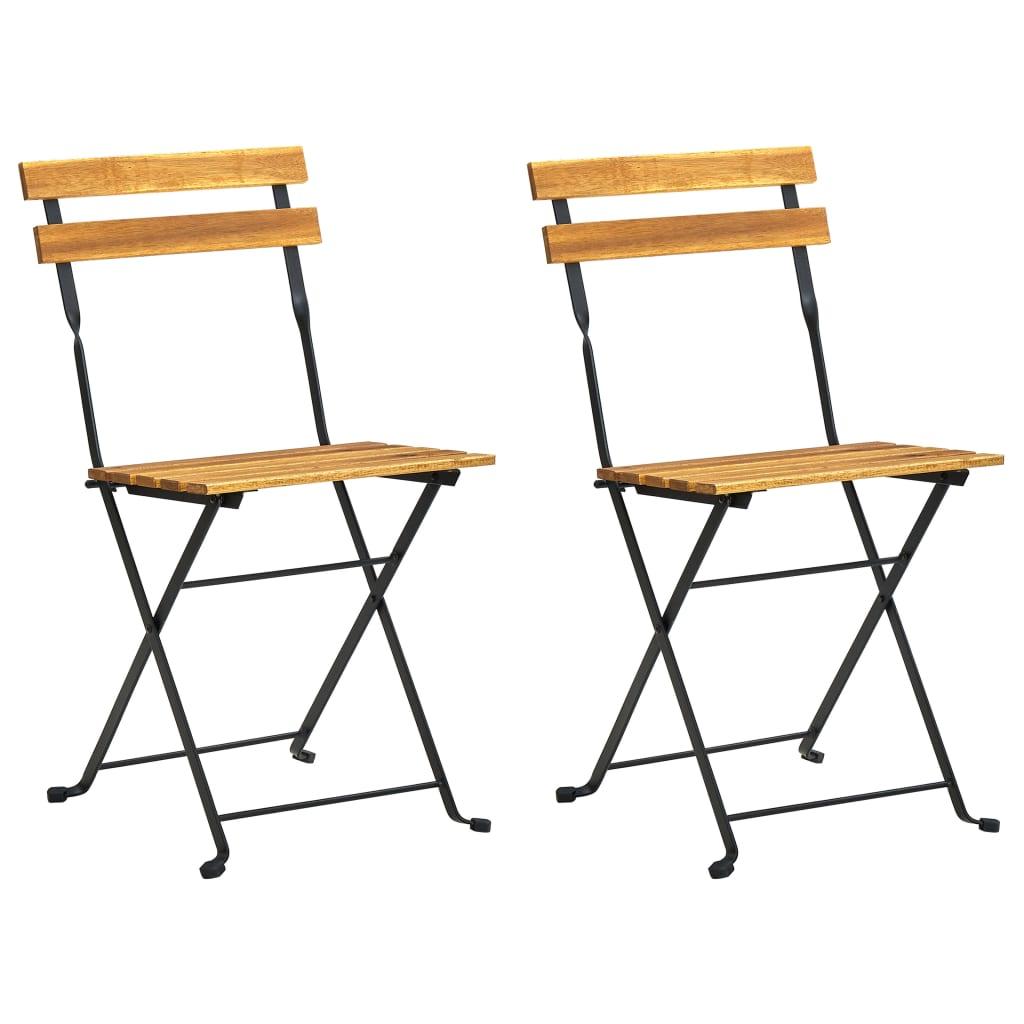 vidaXL Καρέκλες Κήπου Πτυσσόμενες 2 τεμ. από Ατσάλι/Μασίφ Ξύλο Ακακίας