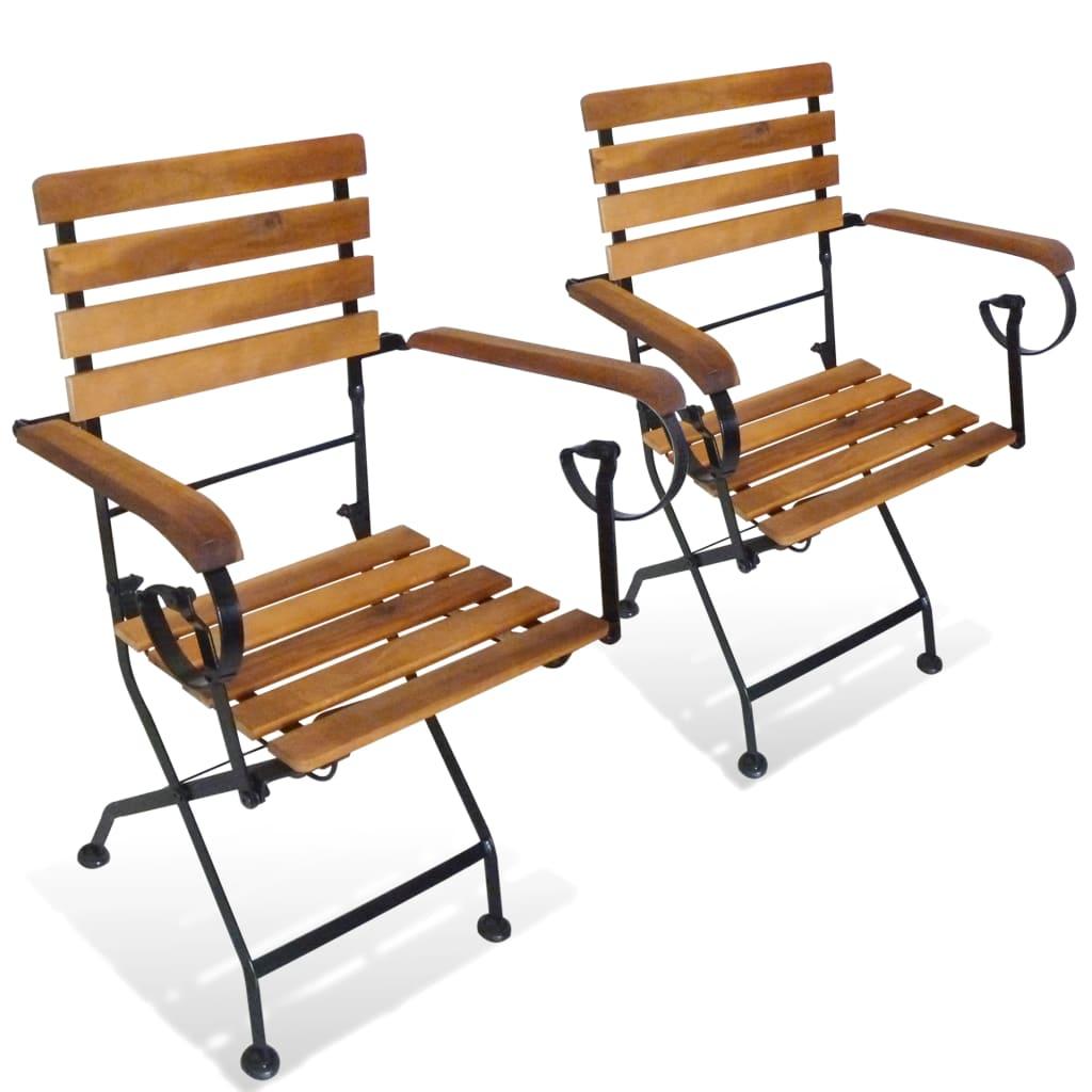 vidaXL Składane krzesła ogrodowe, 2 szt., stal i lite drewno akacjowe