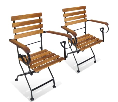 vidaXL Folding Garden Chairs 2 pcs Steel and Solid Acacia Wood