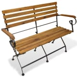 vidaXL Folding Garden Bench 112 cm Solid Acacia Wood