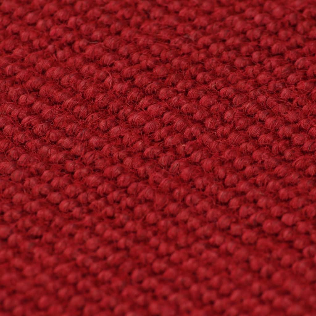 vidaXL Tapijt met latex onderkant 190x300 cm jute rood