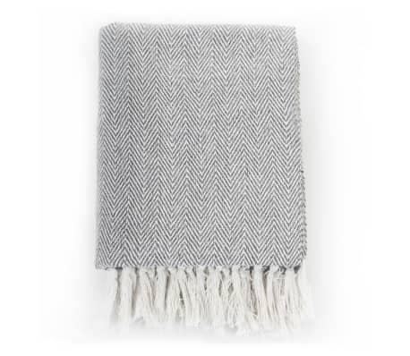 vidaXL Filt i bomull fiskbensmönster 160x210 cm grå[2/6]