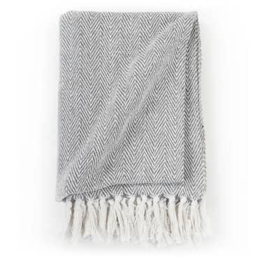 vidaXL Filt i bomull fiskbensmönster 160x210 cm grå[3/6]