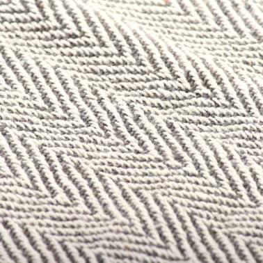 vidaXL Filt i bomull fiskbensmönster 160x210 cm grå[6/6]