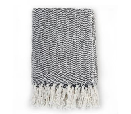vidaXL Filt bomull fiskbensmönster 125x150 cm marinblå[2/6]