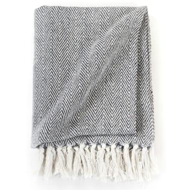 vidaXL Filt bomull fiskbensmönster 125x150 cm marinblå[3/6]