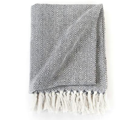 vidaXL Copriletto in Cotone Trama a Spina di Pesce 220x250 cm Blu Navy[3/6]