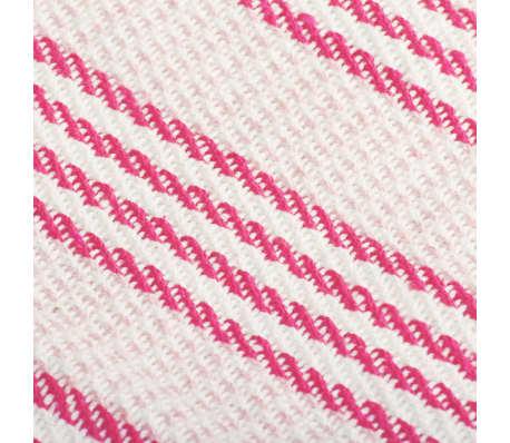 vidaXL Filt bomull ränder 160x210 cm rosa och vit[6/6]