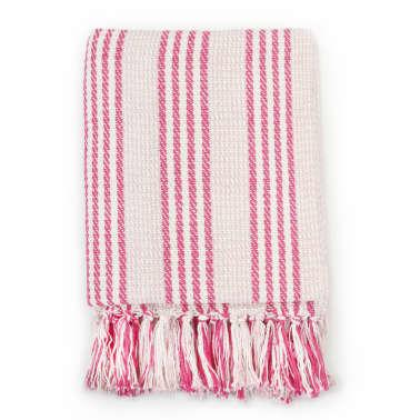 vidaXL Filt bomull ränder 160x210 cm rosa och vit[2/6]