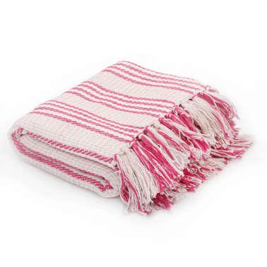 vidaXL Pătură decorativă cu dungi, bumbac, 220 x 250 cm, roz și alb[1/6]