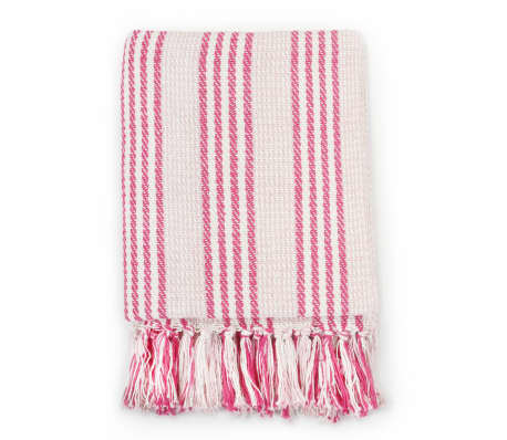 vidaXL Pătură decorativă cu dungi, bumbac, 220 x 250 cm, roz și alb[2/6]