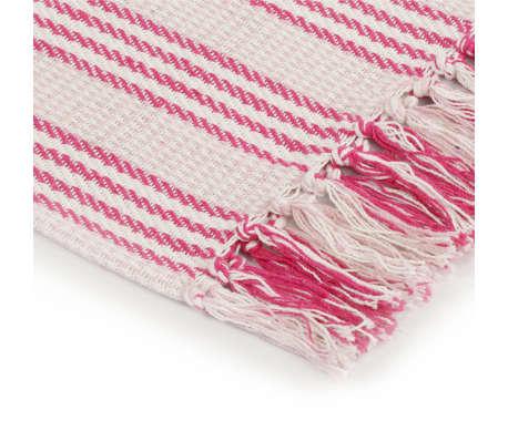 vidaXL Pătură decorativă cu dungi, bumbac, 220 x 250 cm, roz și alb[4/6]
