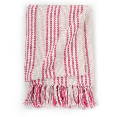 vidaXL Pătură decorativă cu dungi, bumbac, 220 x 250 cm, roz și alb[3/6]