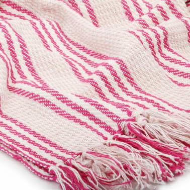 vidaXL Pătură decorativă cu dungi, bumbac, 220 x 250 cm, roz și alb[5/6]