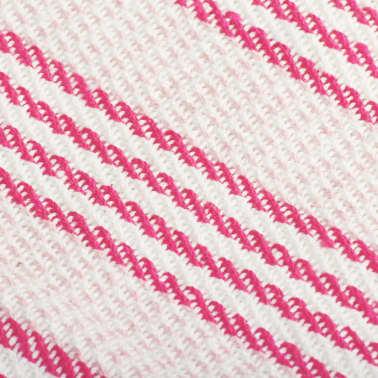 vidaXL Pătură decorativă cu dungi, bumbac, 220 x 250 cm, roz și alb[6/6]