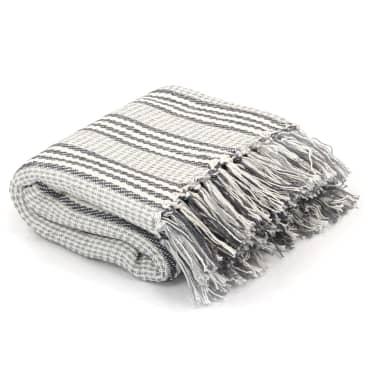 vidaXL Filt bomull ränder 125x150 cm grå och vit[1/6]
