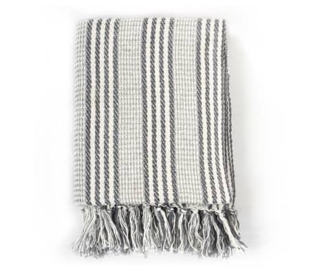 vidaXL Filt bomull ränder 125x150 cm grå och vit[2/6]
