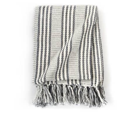 vidaXL Filt bomull ränder 125x150 cm grå och vit[3/6]