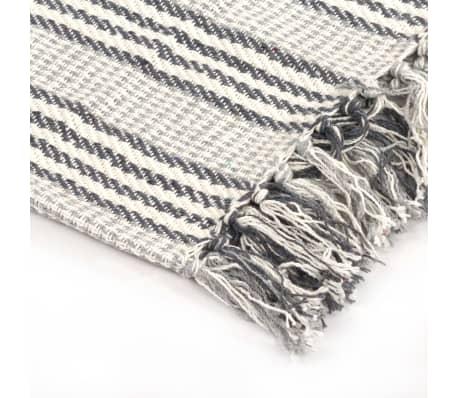 vidaXL Filt bomull ränder 125x150 cm grå och vit[4/6]