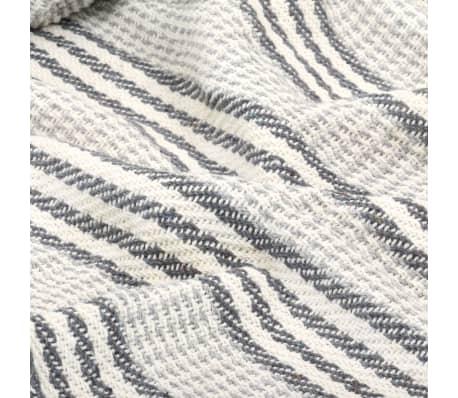 vidaXL Filt bomull ränder 125x150 cm grå och vit[5/6]