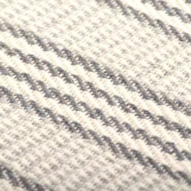 vidaXL Filt bomull ränder 125x150 cm grå och vit[6/6]