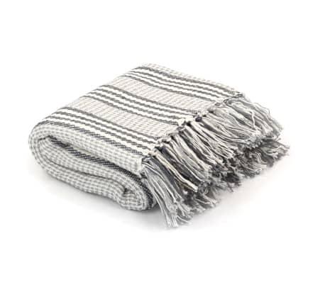vidaXL Überwurf Baumwolle Streifen 160 x 210 cm Grau und Weiss