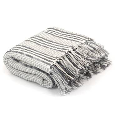 vidaXL Filt bomull ränder 160x210 cm grå och vit[1/6]