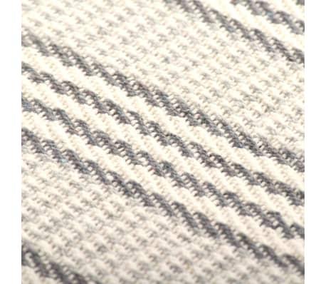 vidaXL Filt bomull ränder 160x210 cm grå och vit[6/6]